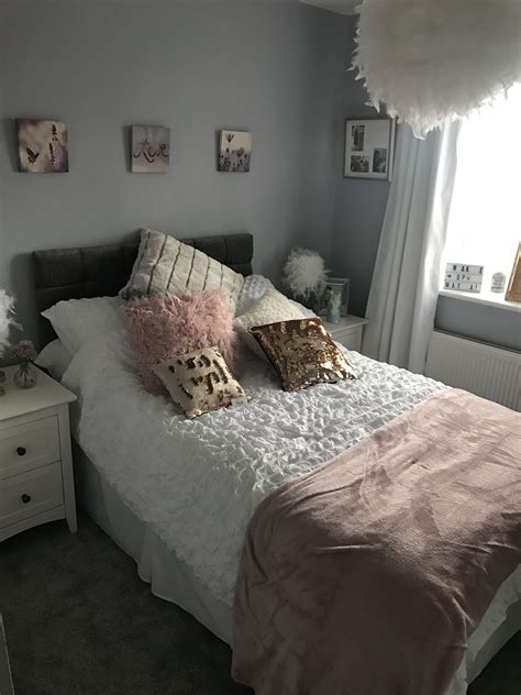 grey white blush  rose gold girls bedroom