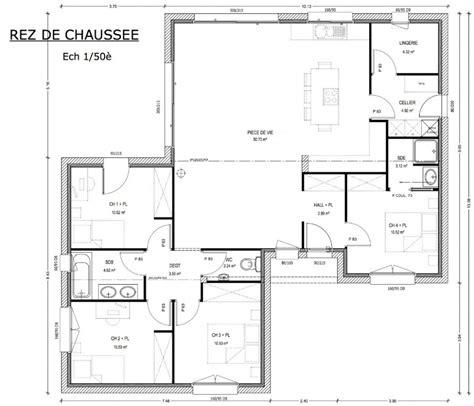 plan maison 120m2 3 chambres plan achat maison neuve à construire logis du marais