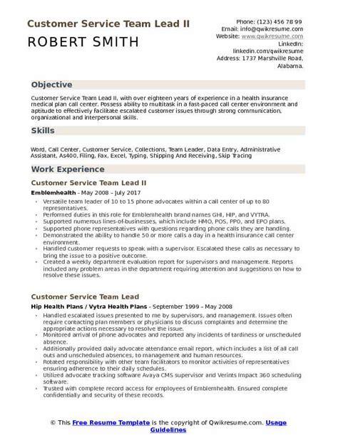 Customer Service Analyst Resume by Customer Service Team Lead Resume Sles Qwikresume