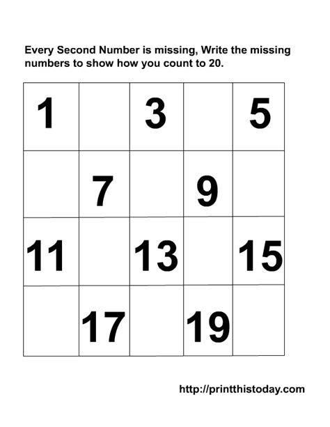 kindergarten missing numbers to 20 writing the missing