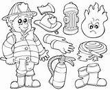 Coloring Pages Firefighter Equipment Fire Safety Teaching sketch template
