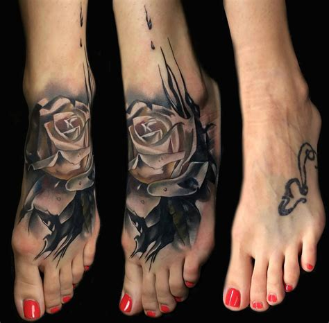 foot rose cover  tattoo design  tattoo ideas gallery