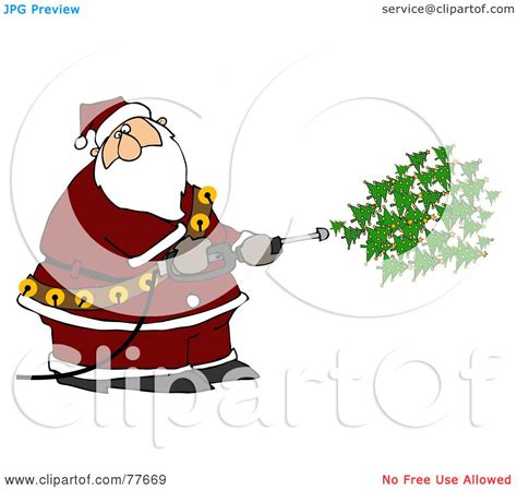 kris kringle trees royalty free rf clipart illustration of kris kringle spraying trees out of a
