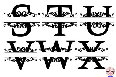 split letters monogram    svg eps dxf png file  coralcuts thehungryjpegcom