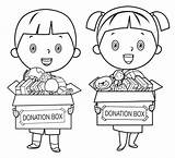 Poor Donate Coloring Cartoon Clipart Starving Children Illustrations Holding Pencils Toys Helping Child Clip Toy Petit Grafiken Each Charity Symbole sketch template