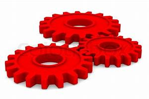 Three red gears on white background Isolated 3D image ...