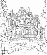 Coloring Mansion Adult Pages Colouring Printable Victorian Houses Buildings Adults Sheets Drawing Line Favoreads Colour Books Para Sketch Mansions Cityscapes sketch template