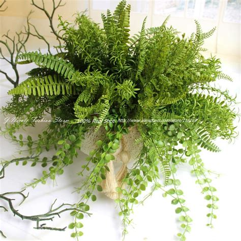 decorative ferns 4 types lifelike artificial rustic fresh green leaves bush fern grass plant home decorative