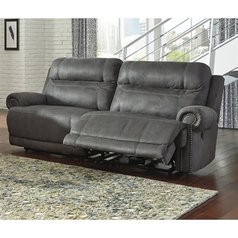 gray reclining sofa and loveseat ashley furniture austere faux leather reclining sofa in