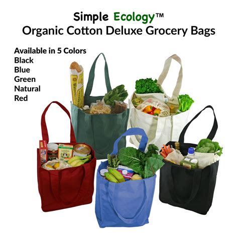 organic cotton deluxe reusable canvas grocery bags