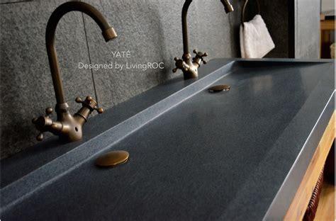 mm double trendy trough grey granite bathroom basin love