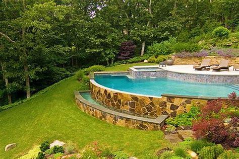 Backyard Pool Yards by Sloped Backyard On Sloped Backyard Landscaping