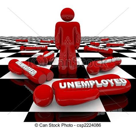 unemployment  man standing  red figure stands