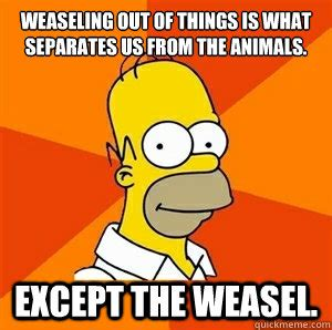 Weasel Meme - weaseling out of things is what separates us from the animals except the weasel advice homer