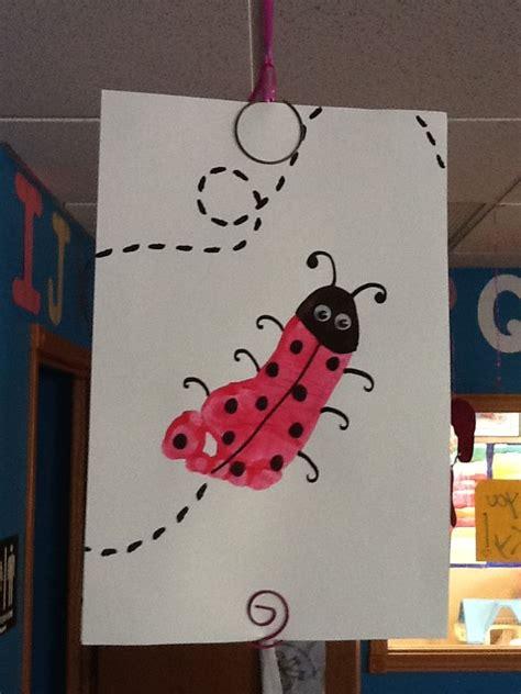 ladybug footprint craft infanttoddler room spring