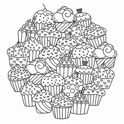 Coloring Cupcakes Coloriage Gateaux Dessin Mandala Cakes