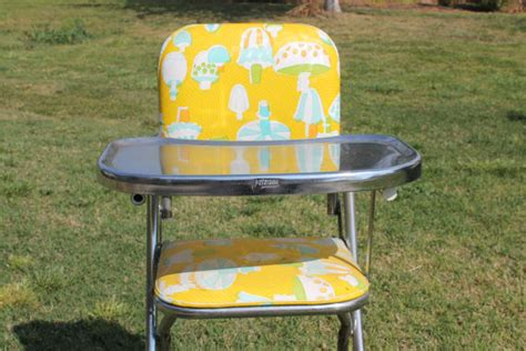 vintage retro stainless steel high chair