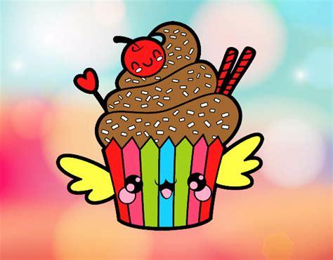 Desenho De O Cupcake Kawaii Pintado E Colorido Por