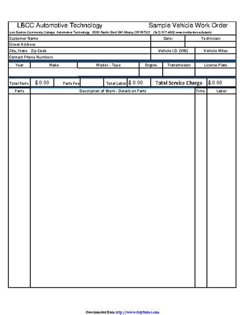 automotive work order template pdfsimpli
