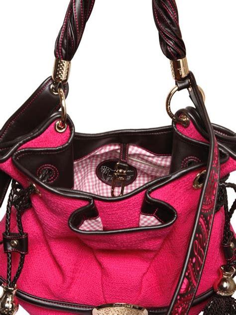 lyst lancel brigitte bardot cotton tweed bag  pink