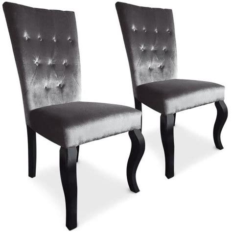 chaises capitonnées lot de 2 chaises capitonnées chaza velours argent achat