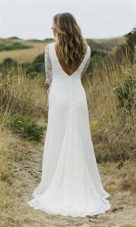 Boho Bridal Gown Tessa Long Sleeve Lace Backless