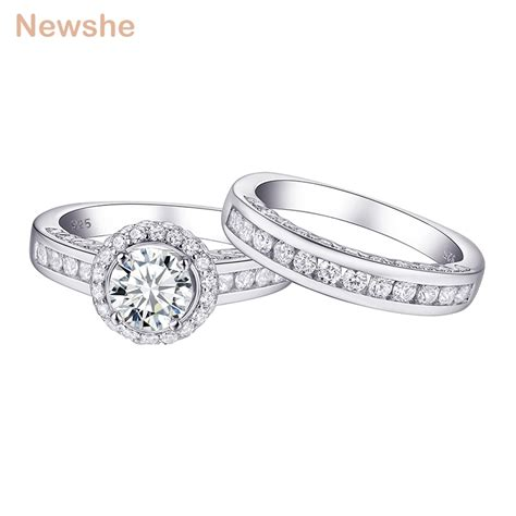 newshe 100 925 sterling silver wedding rings for 2 3ct aaa cubic zirconia classic