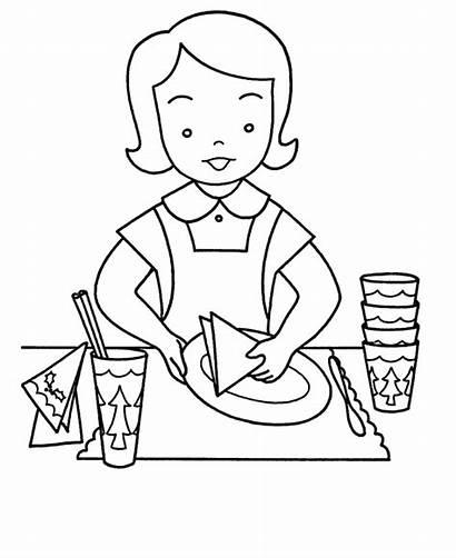 Mesa Colorear Clipart Pintar Child Setting Coloring