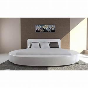 Lit 180x200 Blanc : lit rond moderne 180x200 blanc promo pas cher ~ Teatrodelosmanantiales.com Idées de Décoration