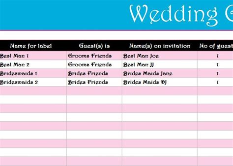 wedding guest list register  excel templates