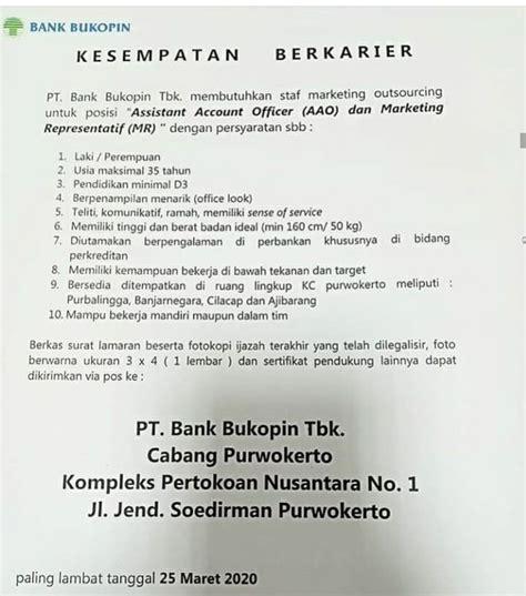lowongan kerja bank bukopin purbalingga terbaru info