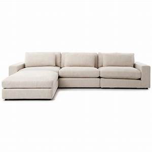 Cornerstone modern classic beige linen sectional sofa 131x92 for Linen sectional sofa