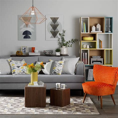 Decorating Ideas Grey Living Room by Grey Living Room With Orange Chair Scandinavian Design