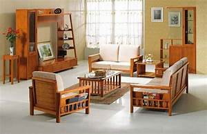 Wooden sofa and furniture set designs for small living for Wooden sofa designs for living room