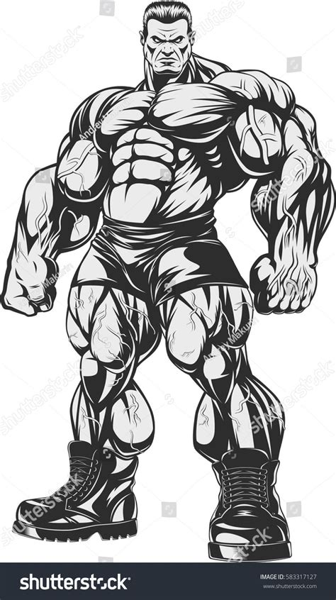 vector illustration bodybuilder strict coach bodybuilding