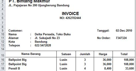 Invoice Contoh by Contoh Invoice Excel Tips Excel