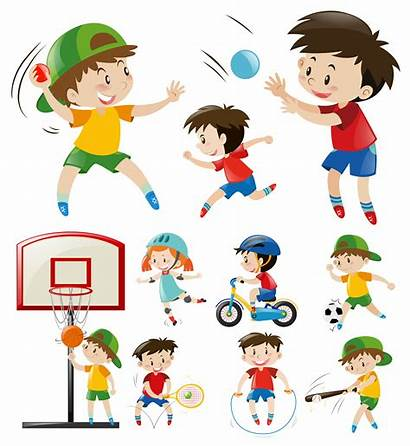 Sports Types Different Doing Sport Vector Exercise