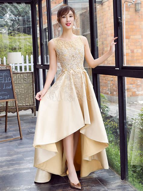 satin prom dress lace applique high  evening dress