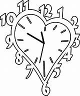 Coloring Clocks Clock Alarm Colouring Template Woodworking Heart sketch template