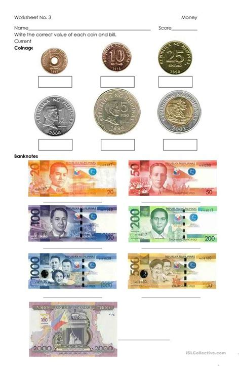 money philippine coins  bills worksheet  esl