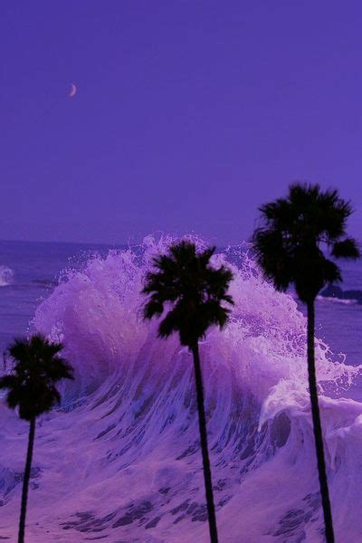Palms wave and moon how seductive Purple aesthetic