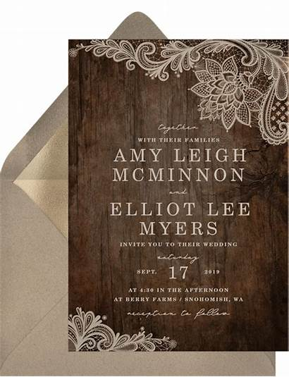 Rustic Invitations Invitation Lace Chic Shabby Wood