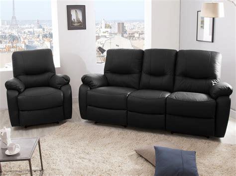 canapé relax cuir center canapé 3 places 2 relax manuel fauteuil cuir gaspard noir