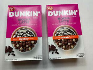 This restaurant mainly serves around fifty types of delicious the dunkin' donuts prices have left you drooling, so what all you are waiting for? 2 Boxes New Post Dunkin' Mocha Latte 17 oz each Cereal Box Dunkin Donuts Coffee | eBay