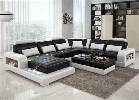 divani casa  modern black  white leather sectional sofa