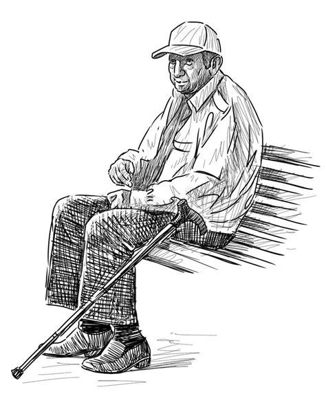 Alter Mann Auf Der Parkbank Vektor Abbildung