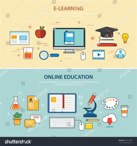 online education elearning banner flat design stock vector