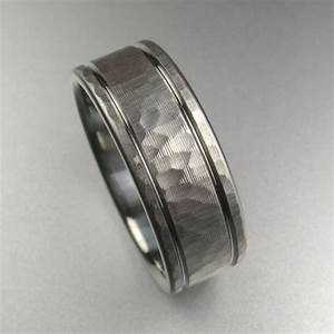 Men39s hammered stripes wedding band made by spextoncom for Mens stainless steel wedding rings