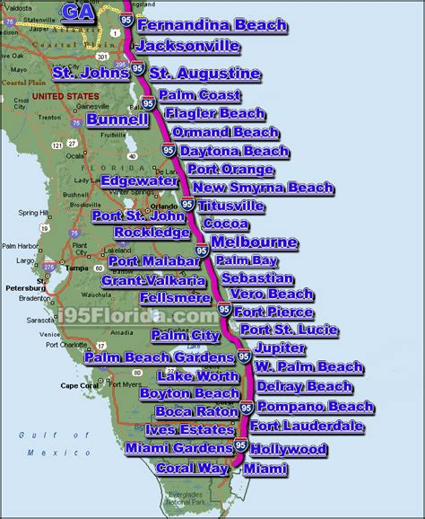 map of central florida east coast beaches