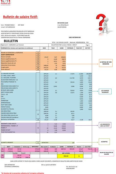 explication d un bulletin de salaire en int 233 avec 1001 interim air
